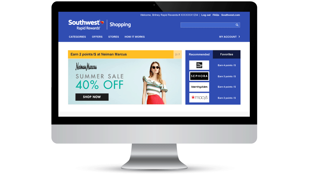 Southwest Airlines Rapid Rewards Shopping: Shop Online & Earn Points